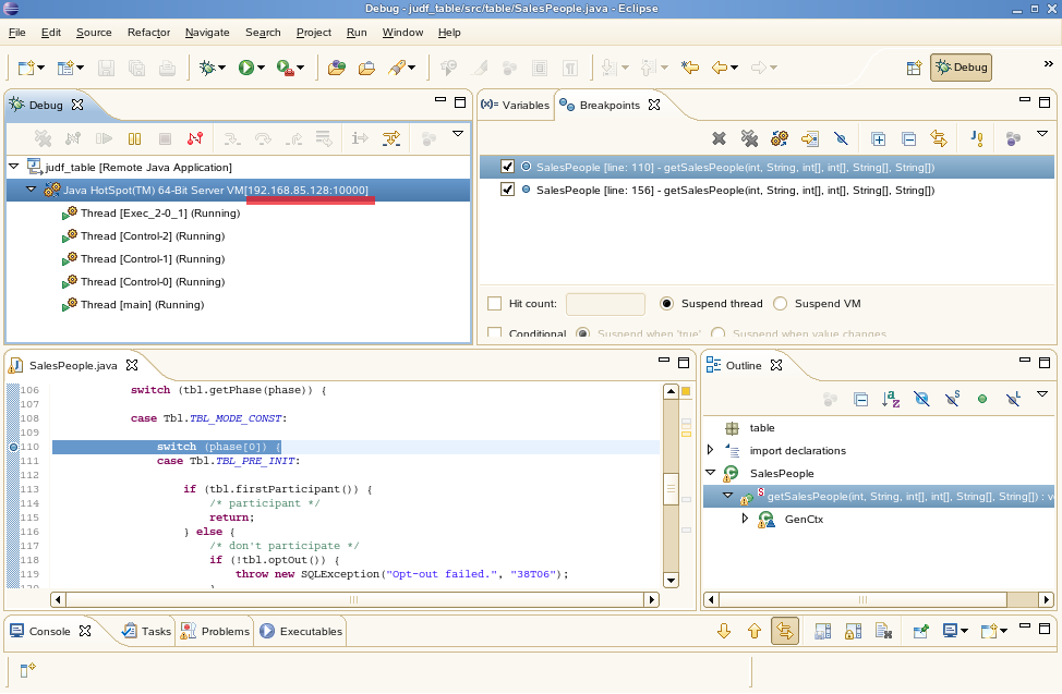 How to Create and Debug a Table JUDF using Eclipse