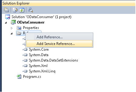 Creating an OData service using  NET Data Provider for