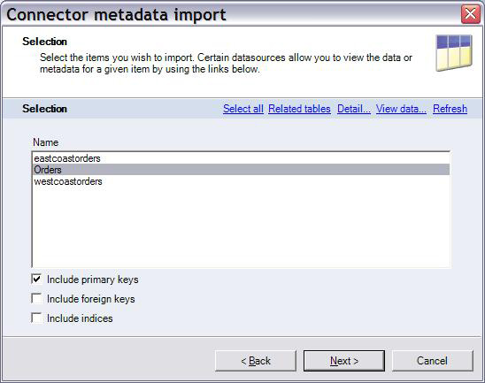 Selection screen of Connector metadata import wizard with 'Orders' selected from filtered items.