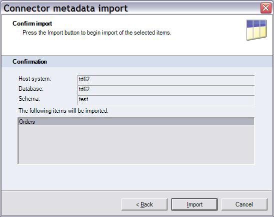 Confirmation screen of Connector metadata import wizard is last screen before start of the Import process.