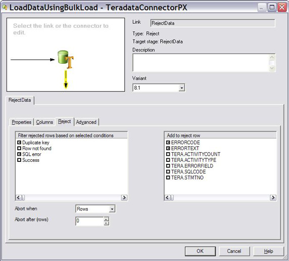Reject tab for Teradata Connector with entries made as described above.