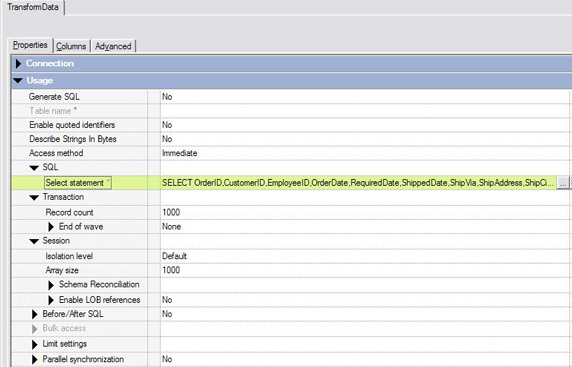 Properties tab for Teradata data extraction with entries made as described above.