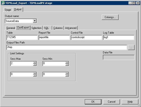 Fast export sub-tab under Output tab for defining TDMLOAD data export.