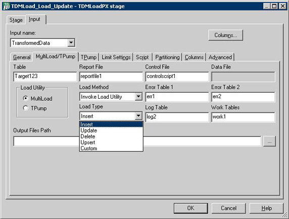 MultiLoad/Tpump sub-tab under Input tab for defining TDMLOAD data load.