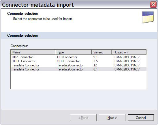 Screenshot of Connector metadata import with Teradata Connector selected.