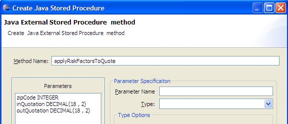 Java External Stored Procedure Method