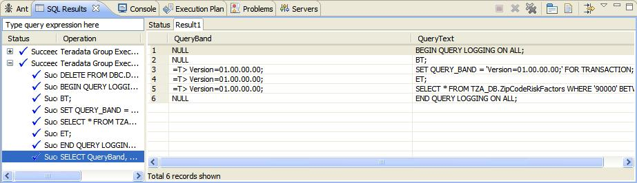 Query Band for Transaction - Results